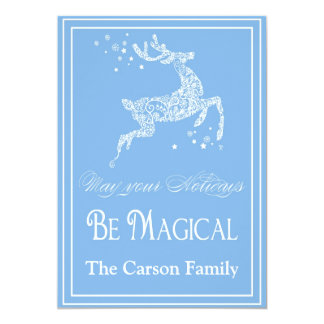 Reindeer Holiday Card - Reindeer Christmas Card Personalized Invitation