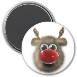 Reindeer Holiday Locker Magnets, Back to school 3 Inch Round Magnet