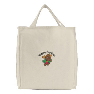 Reindeer Holidays Embroidered Bag