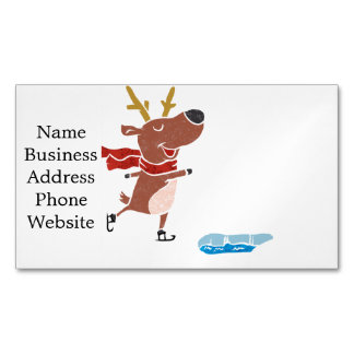 Reindeer ice skate business card magnet