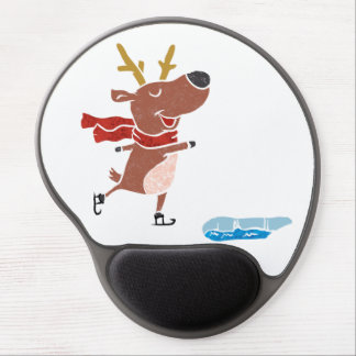 Reindeer ice skate gel mouse pad