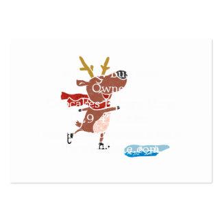 Reindeer ice skate large business card