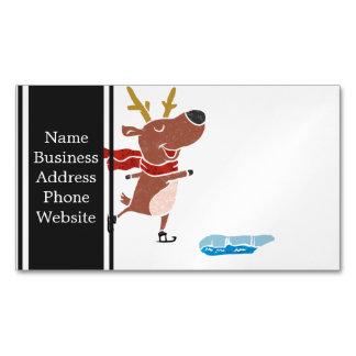 Reindeer ice skate magnetic business card