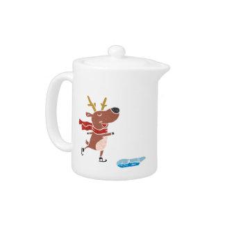 Reindeer ice skate teapot