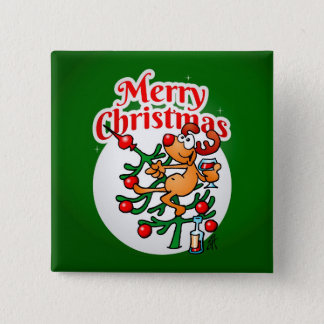 Reindeer in a Christmas tree Button
