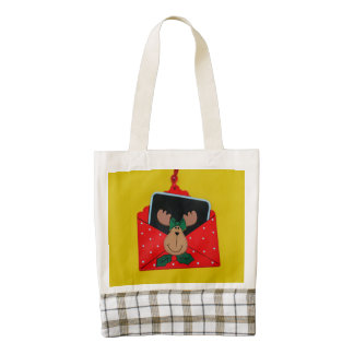 Reindeer in an envelope Christmas decoration Zazzle HEART Tote Bag