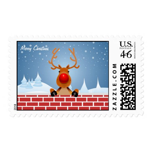 Reindeer In Chimney Postage Stamp