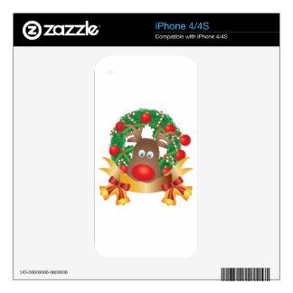 Reindeer in Christmas Wreath Illustration iPhone 4 Decals