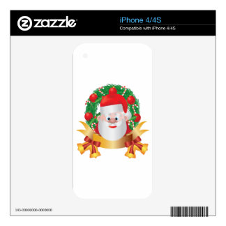 Reindeer in Christmas Wreath Illustration Skin For iPhone 4