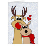 Reindeer in love Christmas Greeting Card