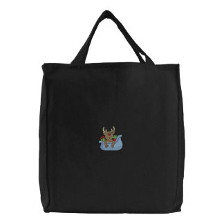 Reindeer In Sleigh Embroidered Tote Bag