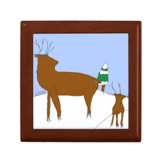 Reindeer in Snow Banks Gift Box