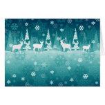 Reindeer in Snow Christmas Card