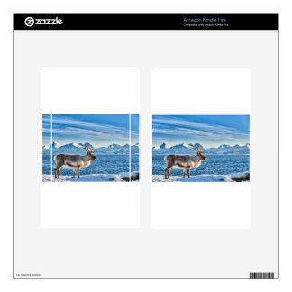 Reindeer in snow covered landscape at sea kindle fire decals