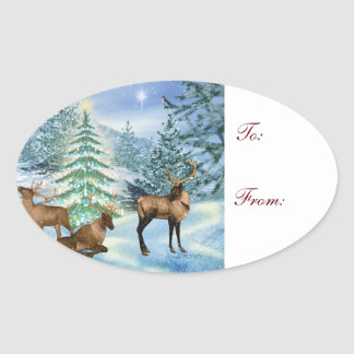 Reindeer in Snow Gift Name Tag Oval Stickers