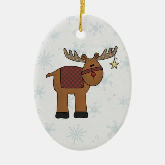 Reindeer in Snow Christmas Ornament