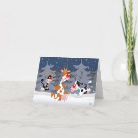 Reindeer in the snow notecard card