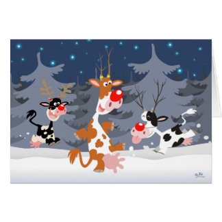 Reindeer in the snow notecard