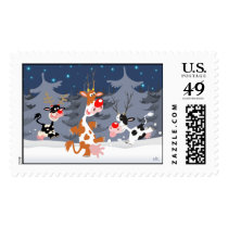 Reindeer in the snow postage stamp