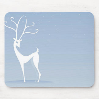 Reindeer In White Mouse Pad