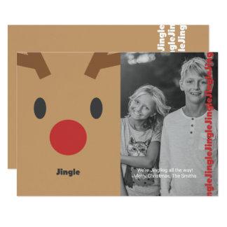 "Reindeer ""Jingle"" Illustration Holiday Photo Card"