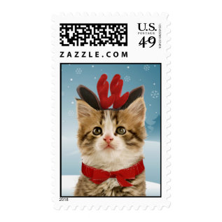 Reindeer Kitten Christmas Postage at Zazzle