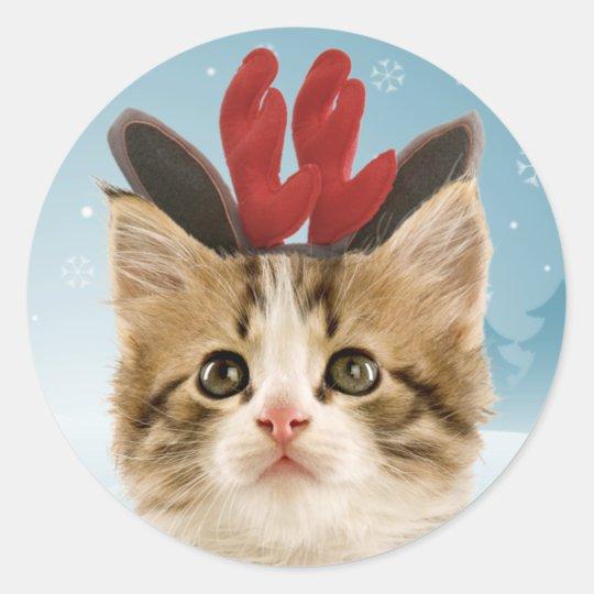 Reindeer Kitten Christmas Stickers