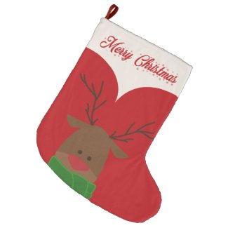 Reindeer Large Christmas Stocking
