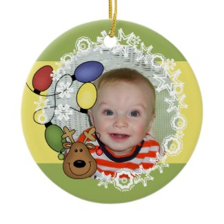 Reindeer Lights Customizable Photo Ornament ornament