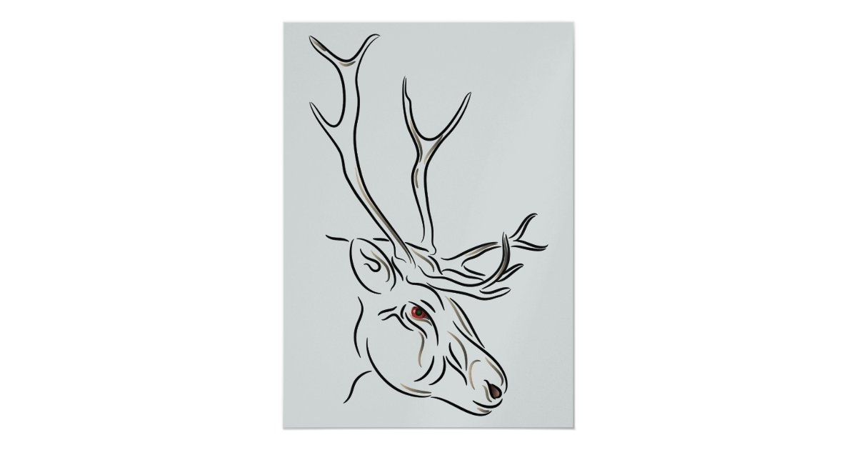 reindeer line drawing christmas invitation zazzle com zazzle