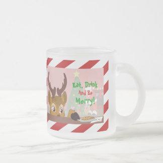 Reindeer Love Cookies Frosted Glass Coffee Mug