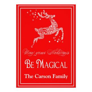 Reindeer Magical Christmas Card - Holiday Card Custom Invite