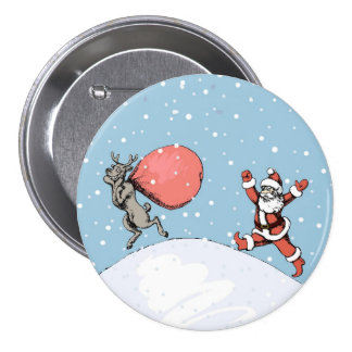 Reindeer makes jokes with Santa Claus. Button