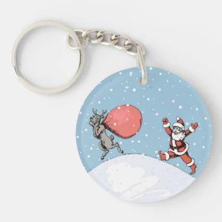Reindeer makes jokes with Santa Claus. Keychain