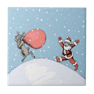 Reindeer makes jokes with Santa Claus. Tile