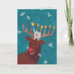 """Reindeer Menorah for Christmas and Hannukah Holiday Card<br><div class=""""desc"""">A gray squirrel and a good-natured reindeer celebrate Hannukah on a snowy evening. This sweet card is especially made for those of us who observe both Christmas and Hannukah.</div>"""