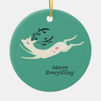Reindeer Merry Everything Ceramic Ornament
