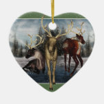 Reindeer Merry Yule Personalized Heart Ornament