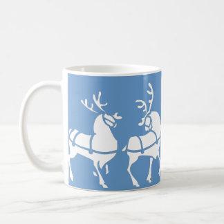 Reindeer Mug Coffee Cup Festive Blue Christmas Cup
