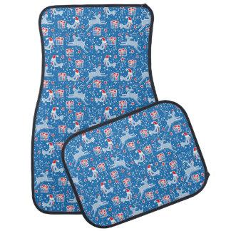 Reindeer & music bird art blue Christmas car mats