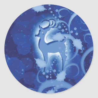 Reindeer n holly Christmas snow Classic Round Sticker