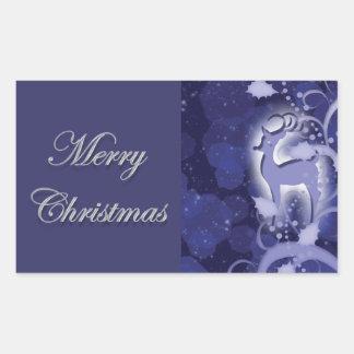 Reindeer n holly Christmas snow Rectangular Sticker