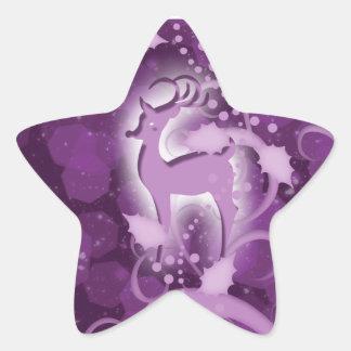 Reindeer n holly Christmas snow Star Sticker