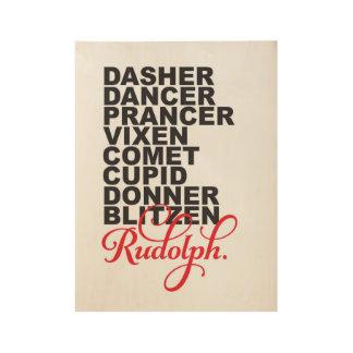 Reindeer Names Wooden Print