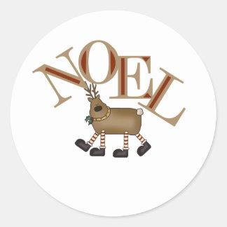 Reindeer NOEL Round Sticker