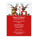 "Reindeer North Pole Holiday Party Invitation 5"" X 7"" Invitation Card"