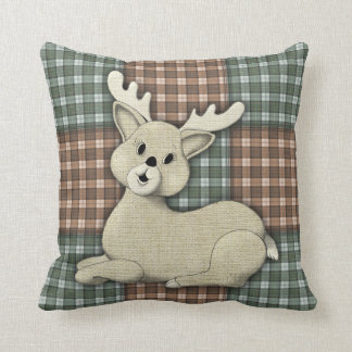 Reindeer on Plaid Patchwork Throw Pillow