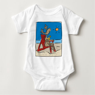 Reindeer on the Beach Baby Bodysuit