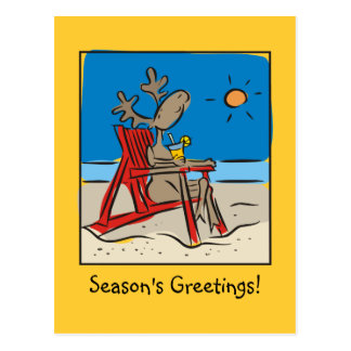 Reindeer on the Beach Postcard