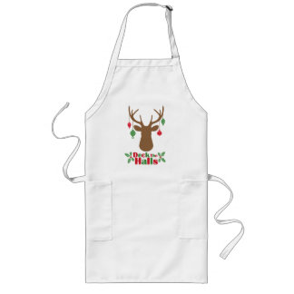 Reindeer Ornaments Deck The Halls Holiday Apron